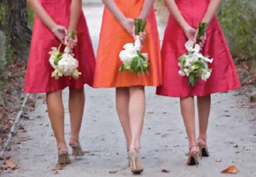 Ombre orange and fuchsia bridesmaid dresses