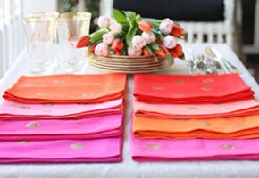 Orange with gold dots table napkins