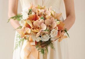 Peach flower bouquet