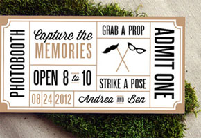Wedding photo booth guest ticket