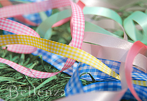 Packaging with ribbons and fabric