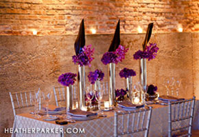 Purple and gold wedding table setting