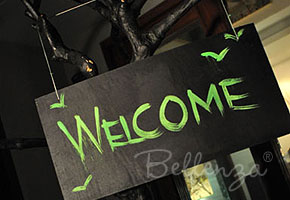 Spooky Halloween Wedding Welcome Sign in Black and Green