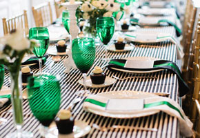 St. Patrick's day table settings in green hues