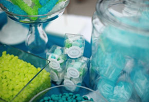 Teal and chartreuse candy table