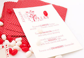 Valentine's menu card with jelly beans