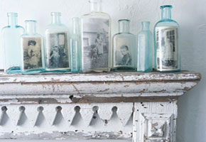 Vintage bottles with photos