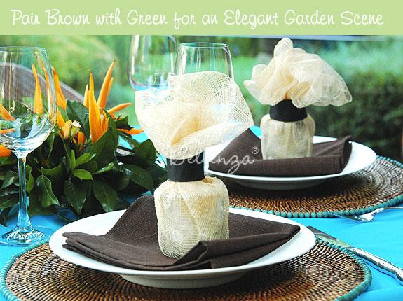 Brown wedding table for a Havana garden theme