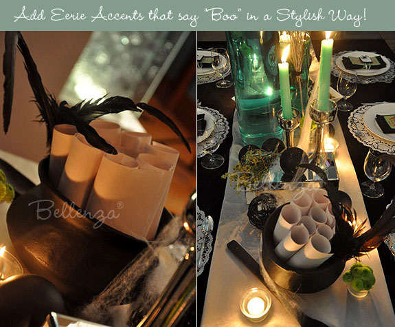 Black feathers, green candles, and green vases