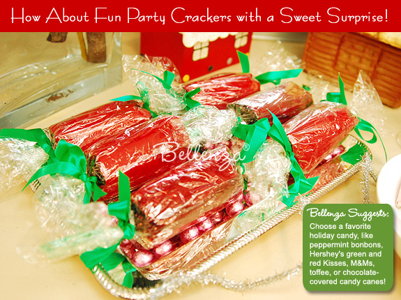 Party crackers with candies inside