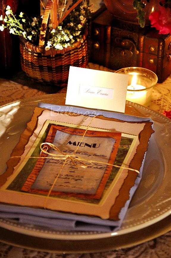 Menu card on vintage travel wedding table setting