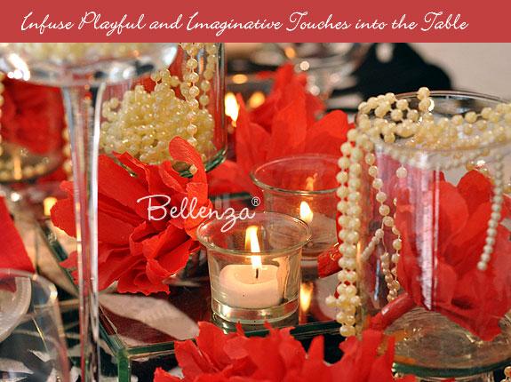 Set pearls on table