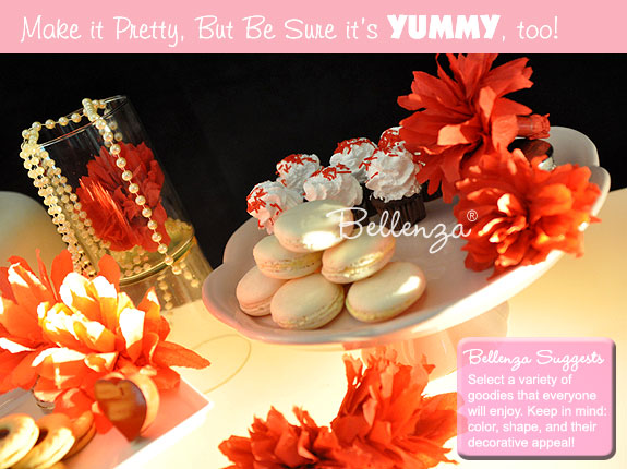 A chic red and white Valentine's dessert display
