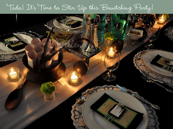 Halloween table setting with green and black accents