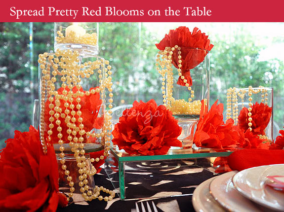 Flower centerpieces in red for Valentine's