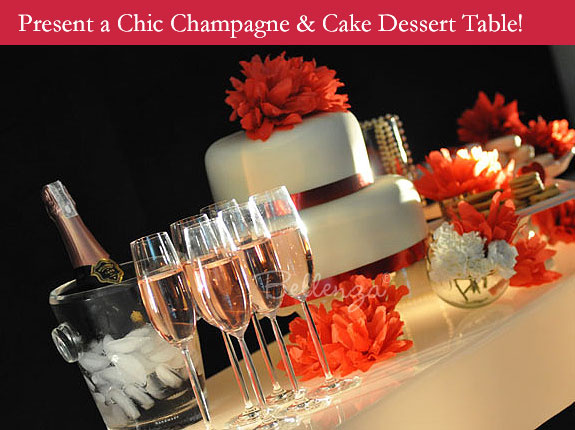 Champagne and cake table for Valentine's