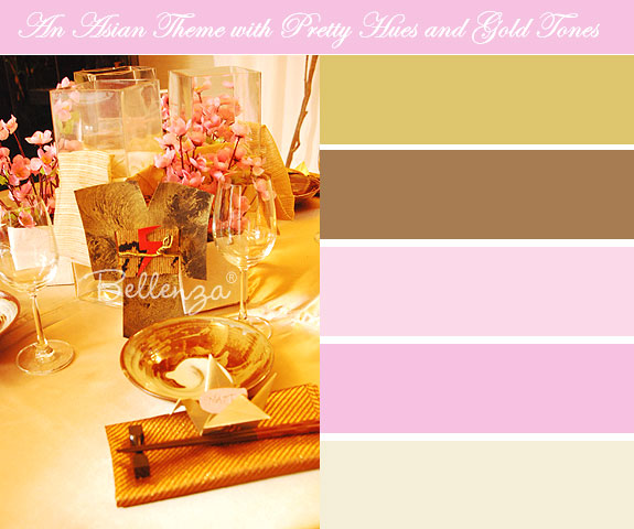 Pink and gold asian themed table