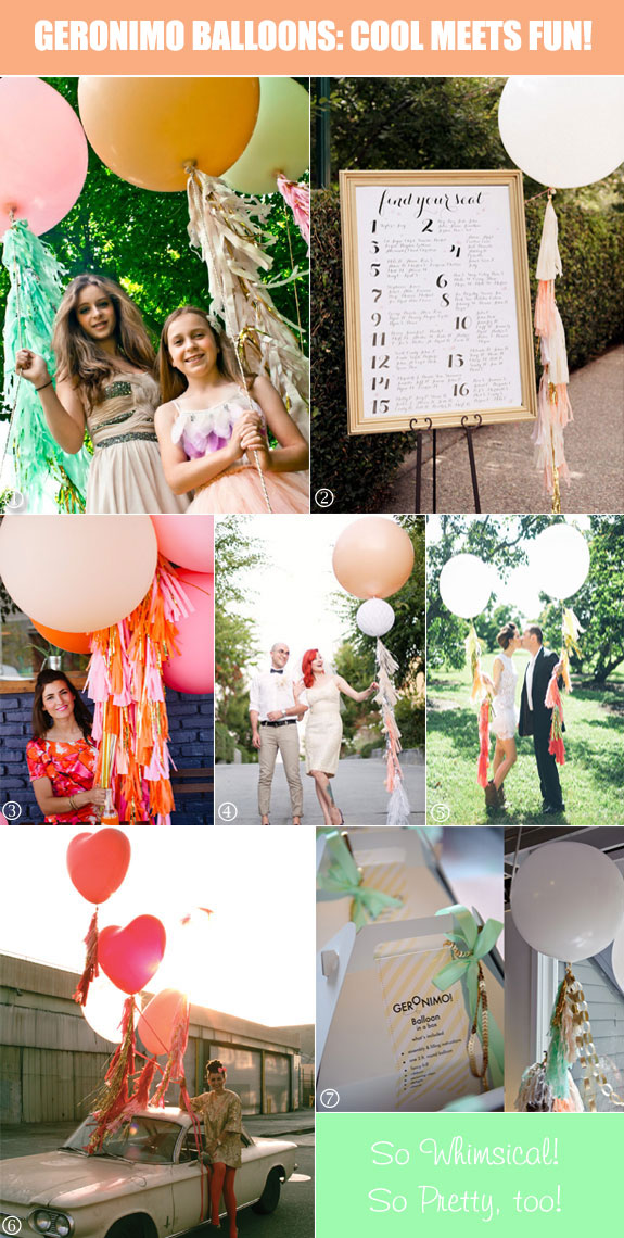 Decorative uses of Geronimo balloons in weddings