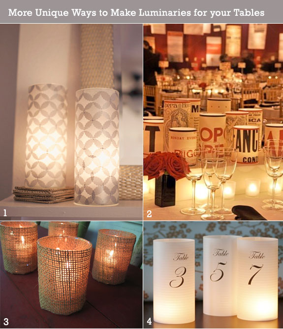 Palette of finds for wedding  candle luminaries using tissue, burlap, and printed paper