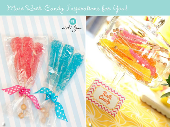 Blue and red rock candy favors
