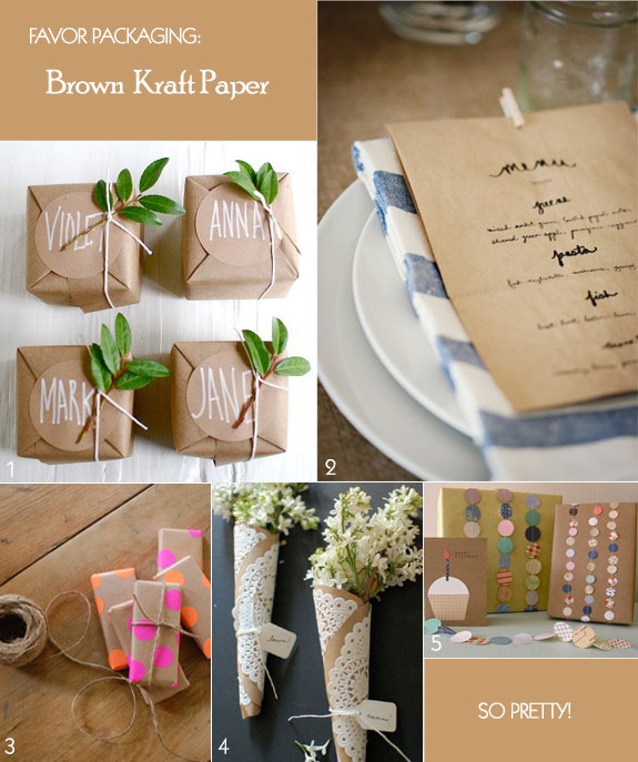 Favor packaging using brown kraft paper