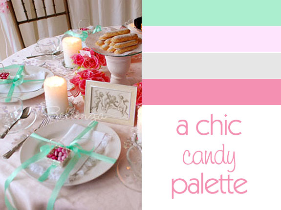Pink, mint green, and silver wedding colors for table