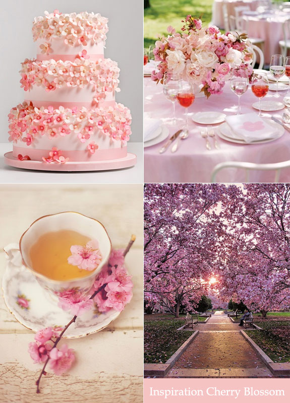cherry blossom wedding cake and table decorations