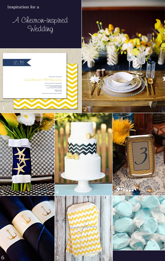 Nautical themed wedding in chevron yellow and navy blue