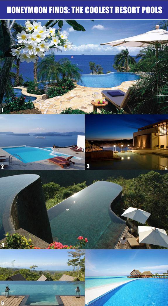 Most unique swimming pools for honeymoon in Santorini, Costa Rica, Bali