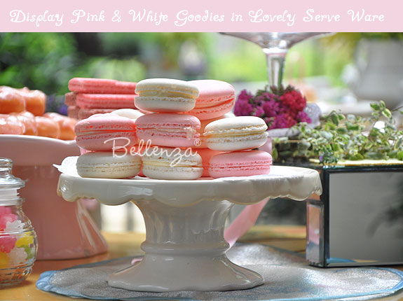 Pink and white candy display