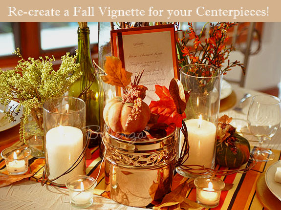Rustic accents using brown and orange leaves