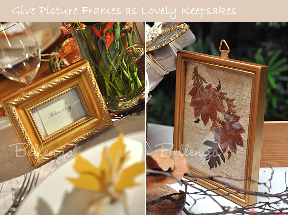 Gold picture frame with pressed leaves