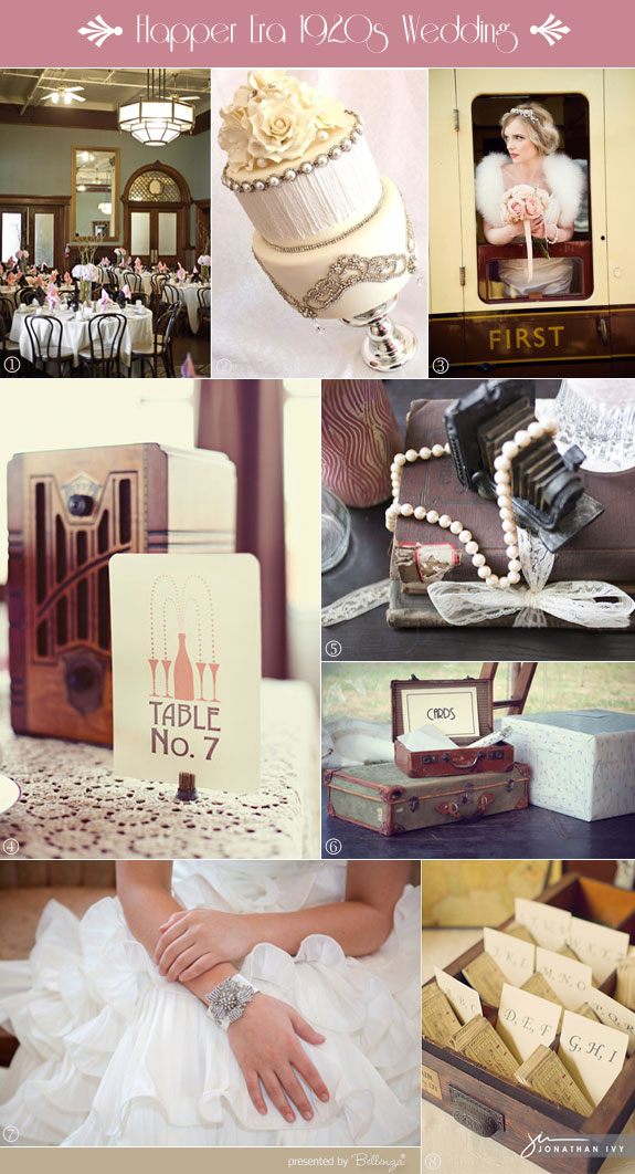Flapper era 1920s wedding decorations, cake, and inspiration board