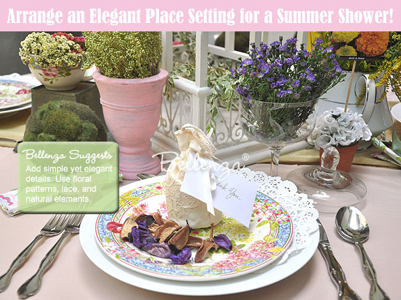 Elements of garden-inspired place setting