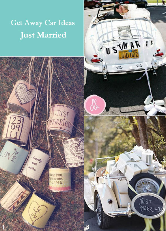 Vintage wedding cars and just married signs