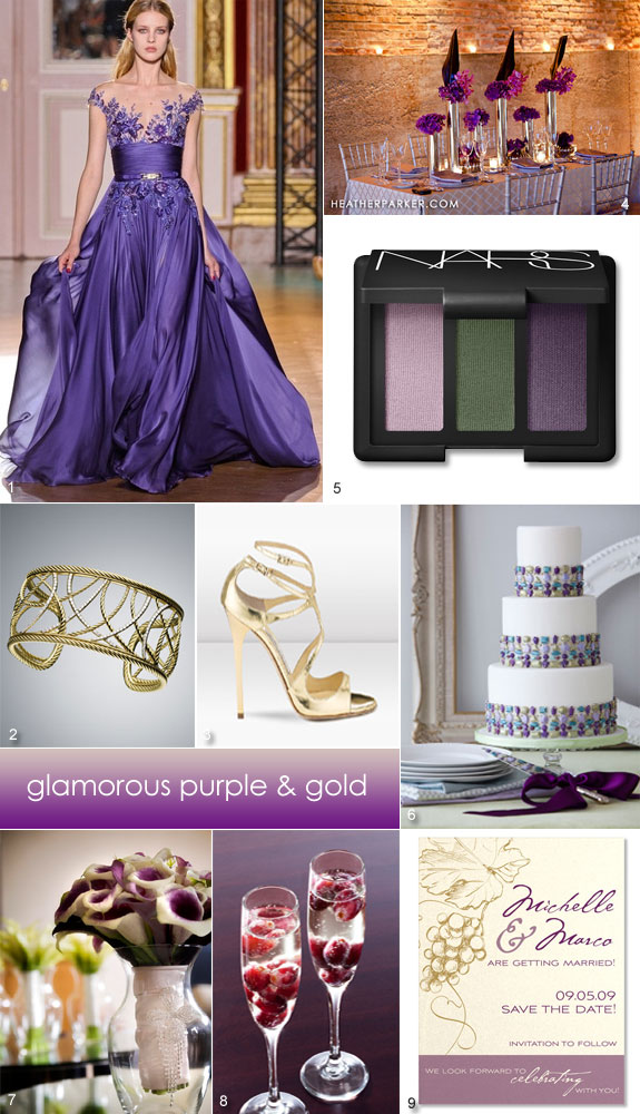 Purple and gold wedding inspiration board