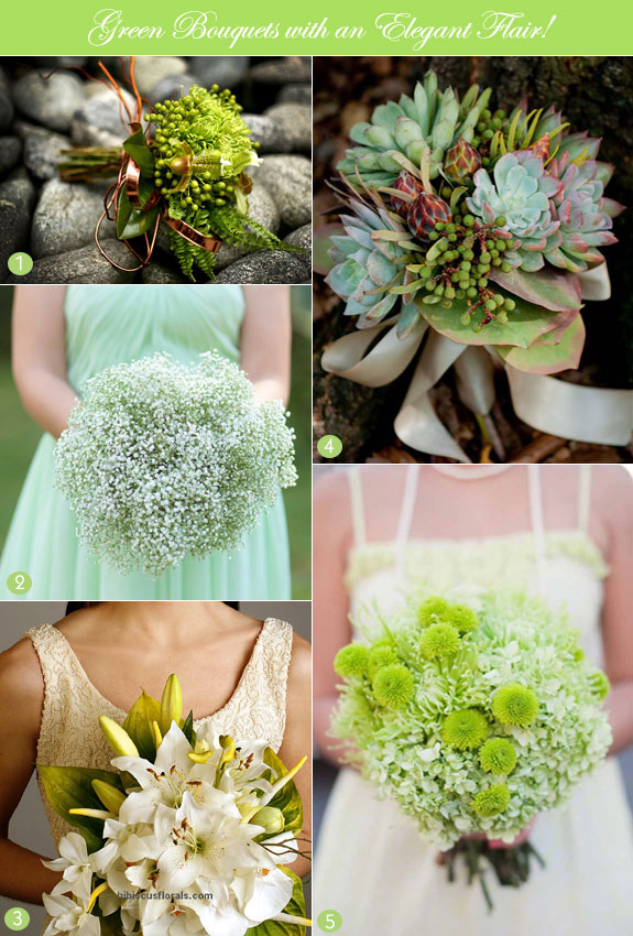 Green wedding bouquet ideas