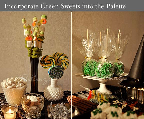 Green Halloween candies