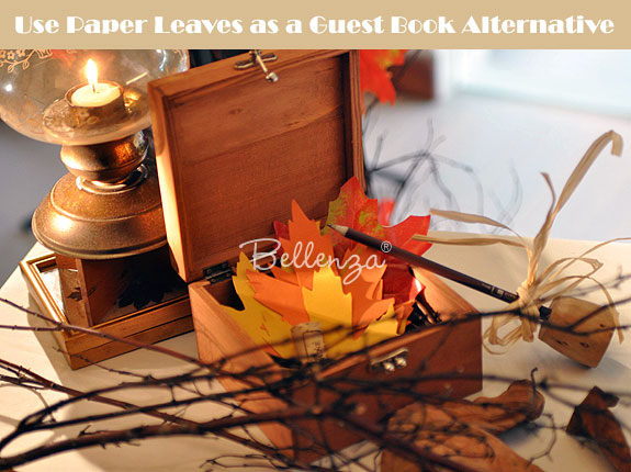 Autumn guest book alternative with leaves