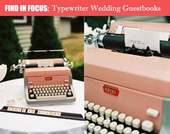 Alternative guestbook typewriter vintage pink