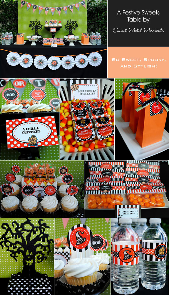 Halloween Sweets Table in Orange, Black, and Green