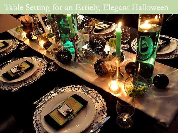 Halloween table setting in black and green
