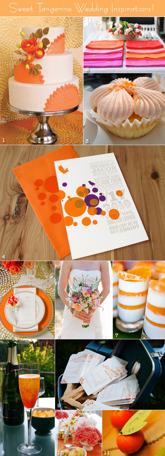 Tangerine Tango decorations, cake, bouquet, and other wedding inspirations
