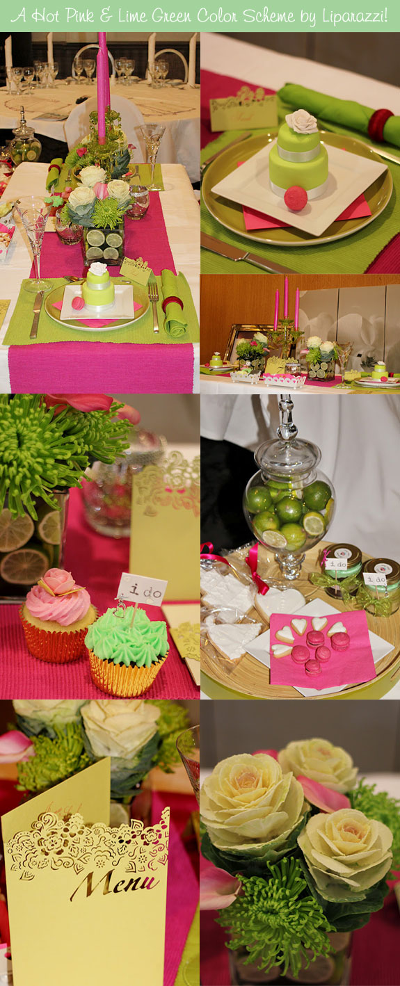 Hot pink and lime green table elements
