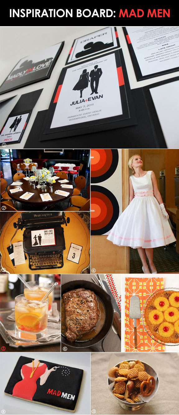 Table decorations, food, and favors for a Mad Men theme