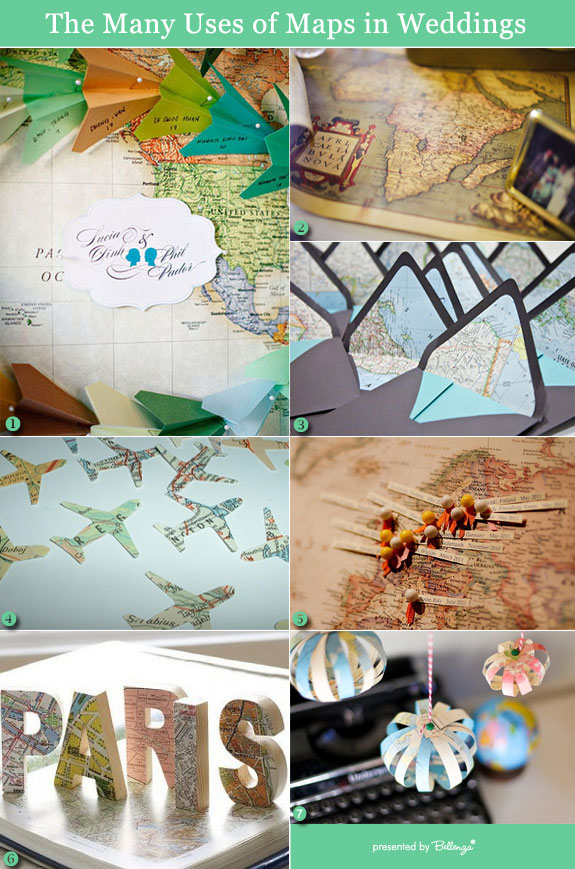 Vintage maps as table decorations for wedding