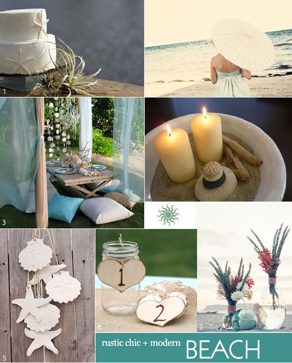 Rustic chic with modern details for a beach wedding