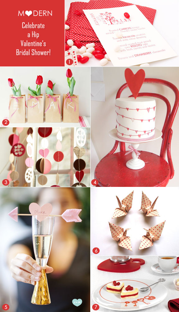 Modern Valentine's bridal shower party inspiration