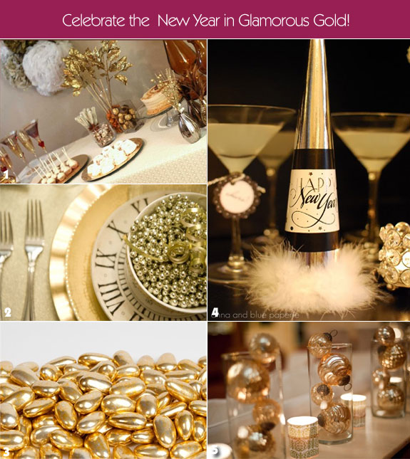 Gold new year's party favor ideas
