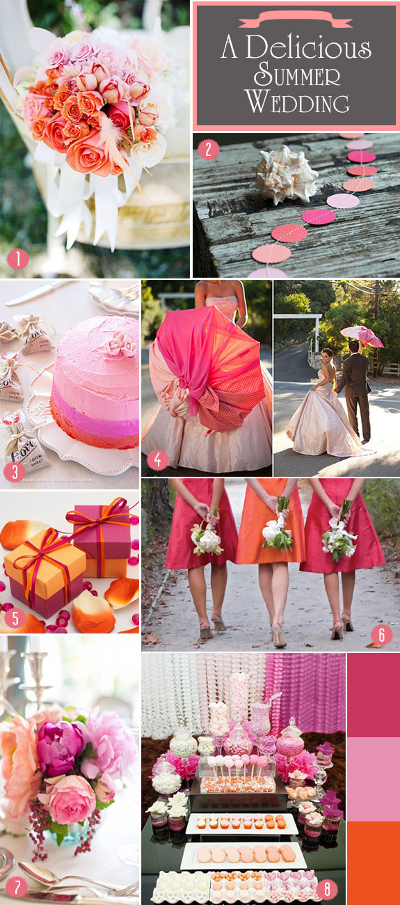 Ombre orange and fuchsia inspiration board